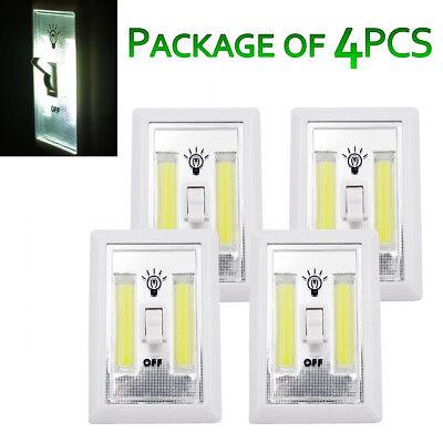 4 Pcs Cordless COB LED Night Light Switch Battery Operated Closet Wall Emergency](Light Battery Operated)