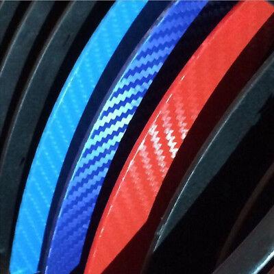 Carbon Fiber 3-Colored Stripe Decal Vinyl Sticker For BMW Grille Exterior Decor