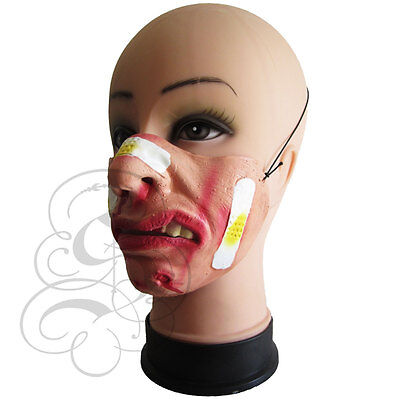 Half Face Comedy Funny Homour People Band Aid Bruise Stag Hen Fancy Latex Mask - Band Aid Halloween Costume