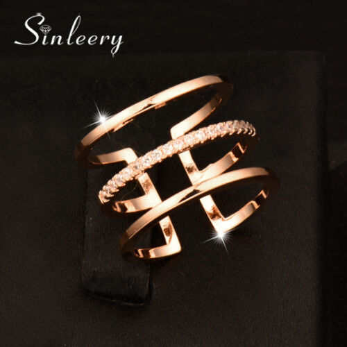 Fashion Tiny Crystal Hollow 3 Layers Rings For Women Rose Gold