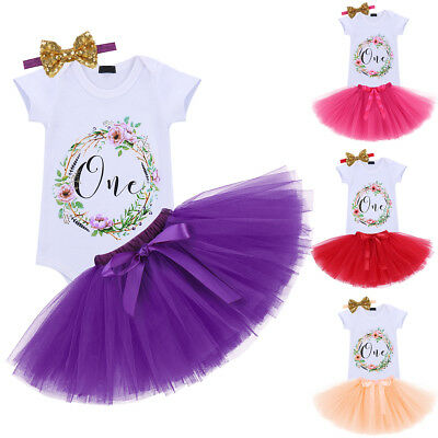 First Birthday Cake Smash Dress Outfits for Baby Girls Romper Skirt 3PCS Clothes - First Birthday Cakes For Girls