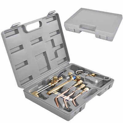 10pcs Gas Welding Cutting Torch Kit Set Oxy Acetylene Oxygen Brazing W Case