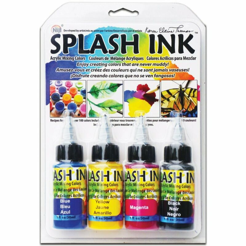 Niji Yasutomo Splash Ink Acrylic Mixing Colors Magenta, Yellow, Blue, Black Inks