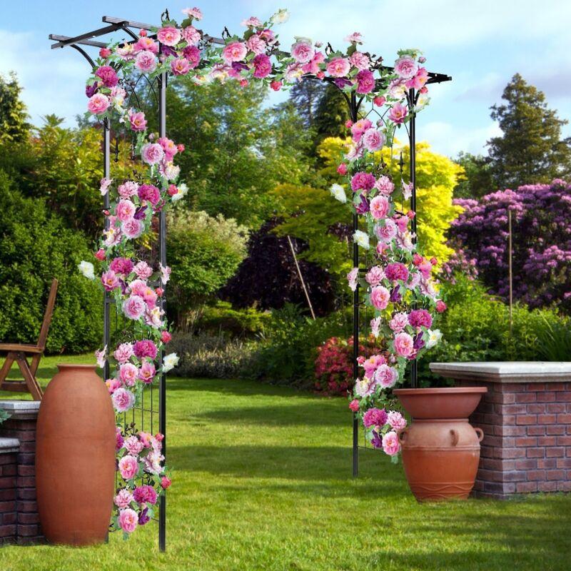 Steel Pergola Archway Outdoor Garden Trellis Metal Wedding Arch Plant Arbor US