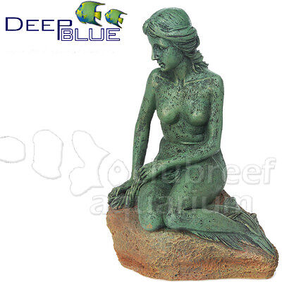 "Mermaid Statue Figure Patina Copper Finish Polyresin Ornament Decor 7"" Deep Blue"