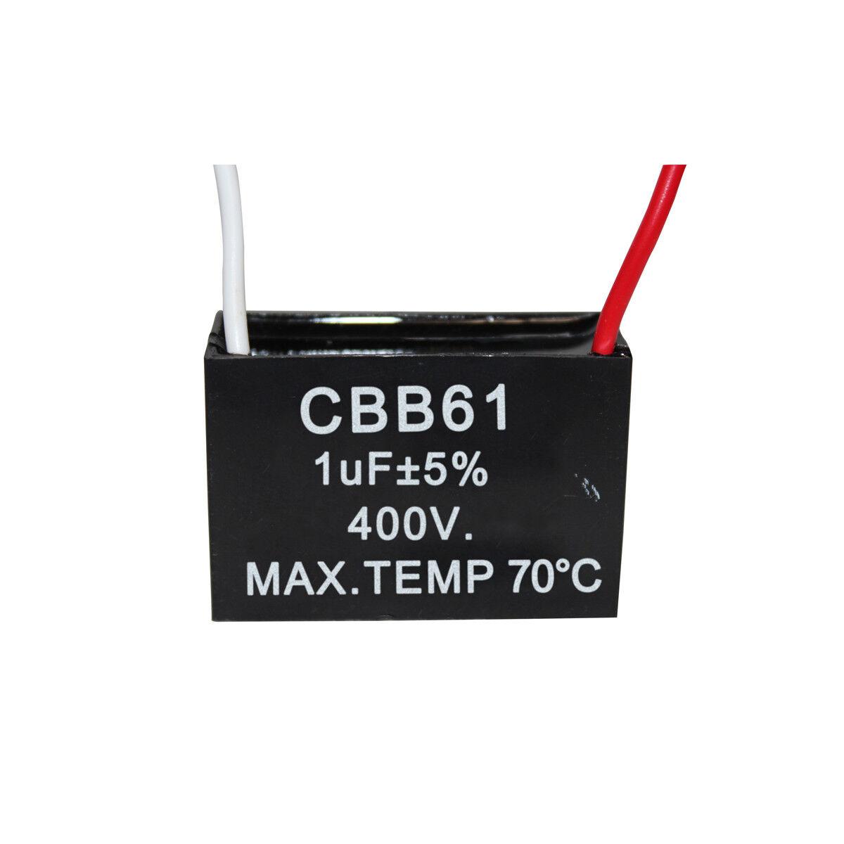 2PCS CBB61 Terminal Ceiling Fan Motor Running Rectangle Capacitor 400V 1UF
