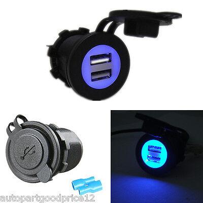 C3500 Tablet - 12V-24V Dual USB Car SUV Blue LED Angel Eye Charging Socket Power Adapter Outlet