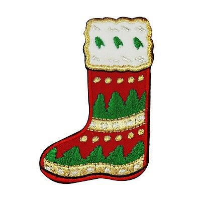 - ID 8071 Christmas Stocking Patch Holiday Sock Boot Embroidered Iron On Applique