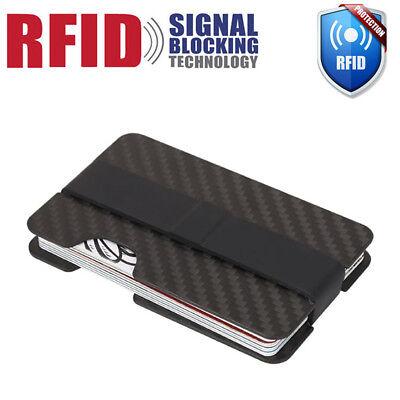 Black Card Holder - RFID Blocking Carbon Fiber Money Clip Slim Mens Minimalist Wallet ID Card Holder