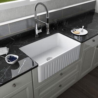 30'' Farmhouse Kitchen Sink White Single Bowl Kitchen Sink Apron Kitchen Sink
