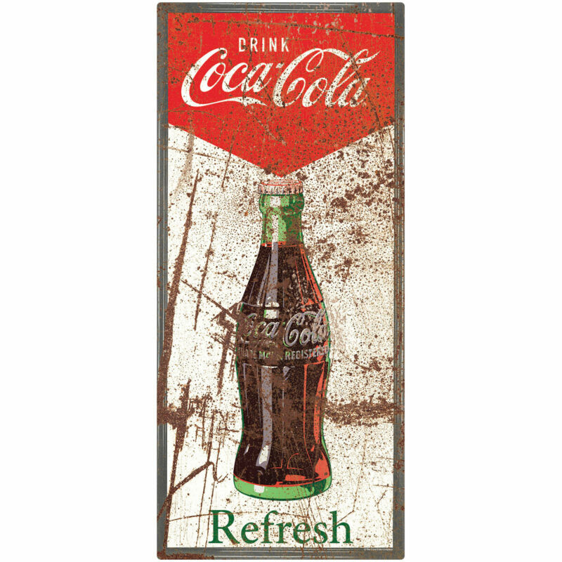 Coca-Cola Refresh Bottle Distressed Wall Decal 11 x 24 Vintage Style Kitchen
