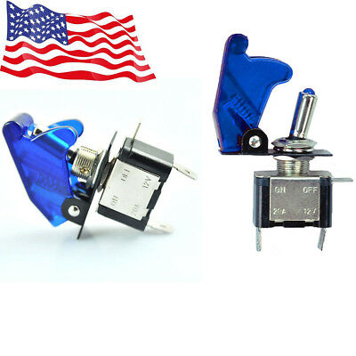 2x Blue Led Light Toggle Rocker Switch 12v 20a Spst On Off For Car Boat Us