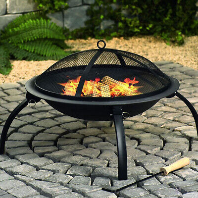 CGC Fire Pit Round Foldable Outdoor Garden Camping Heater BBQ Grill Portable