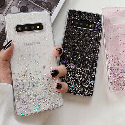 F Samsung Galaxy Note 10 Plus S10 Bling Glitter Clear Cute Hard Phone Case Cover