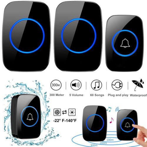 1000FT Wireless Doorbell Waterproof 2 Plugin Receiver Adjustable Volume 38 Chime Building & Hardware