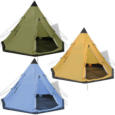 Indianerzelt Wigwam Familienzelt Camping Gruppenzelt 4 Personen Blau/Grün/Gelb (4 Personen Gruppen)