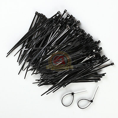 1000 Industrial 4 Black Wire Cable Zip Ties Nylon Tie Wraps Free Shipping
