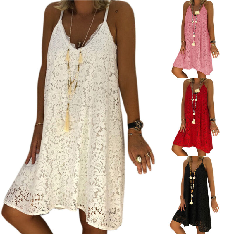 Damen Spitze Trägerkleid Tunika Sommerkleid Strand Longtop Übergröße Kleider 48