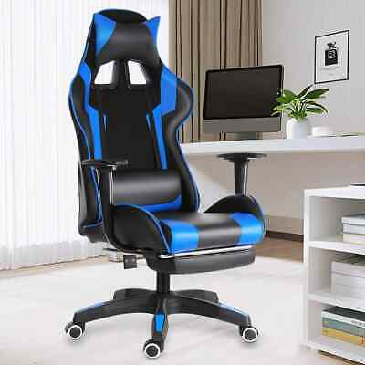 Wcg Office Gaming Chair Reclining Gaming Chair Swivel Pu Leather With Footrest