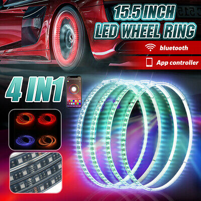 4IN1 15.5'' Car RGB LED Wheel Ring Rim Strip Lights bluetooth APP Control DC12V