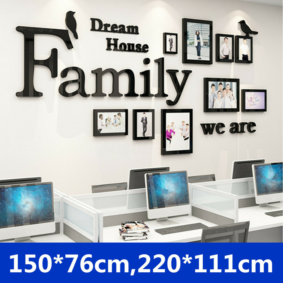 Home Decoration - 3D Photo Frame Wall Sticker Family Dream House Art Office Home Bedroom Decor