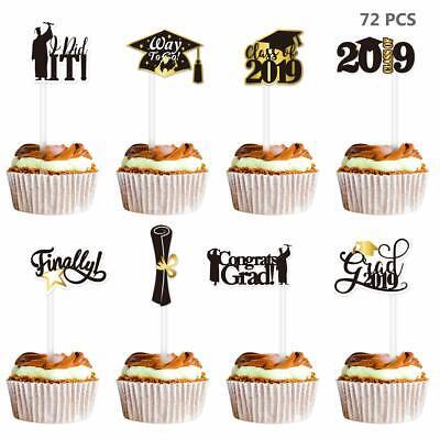 72PCS Graduation Cupcake Toppers 2019 Graduation Party Decoration ](Graduation Cupcake Decorations)