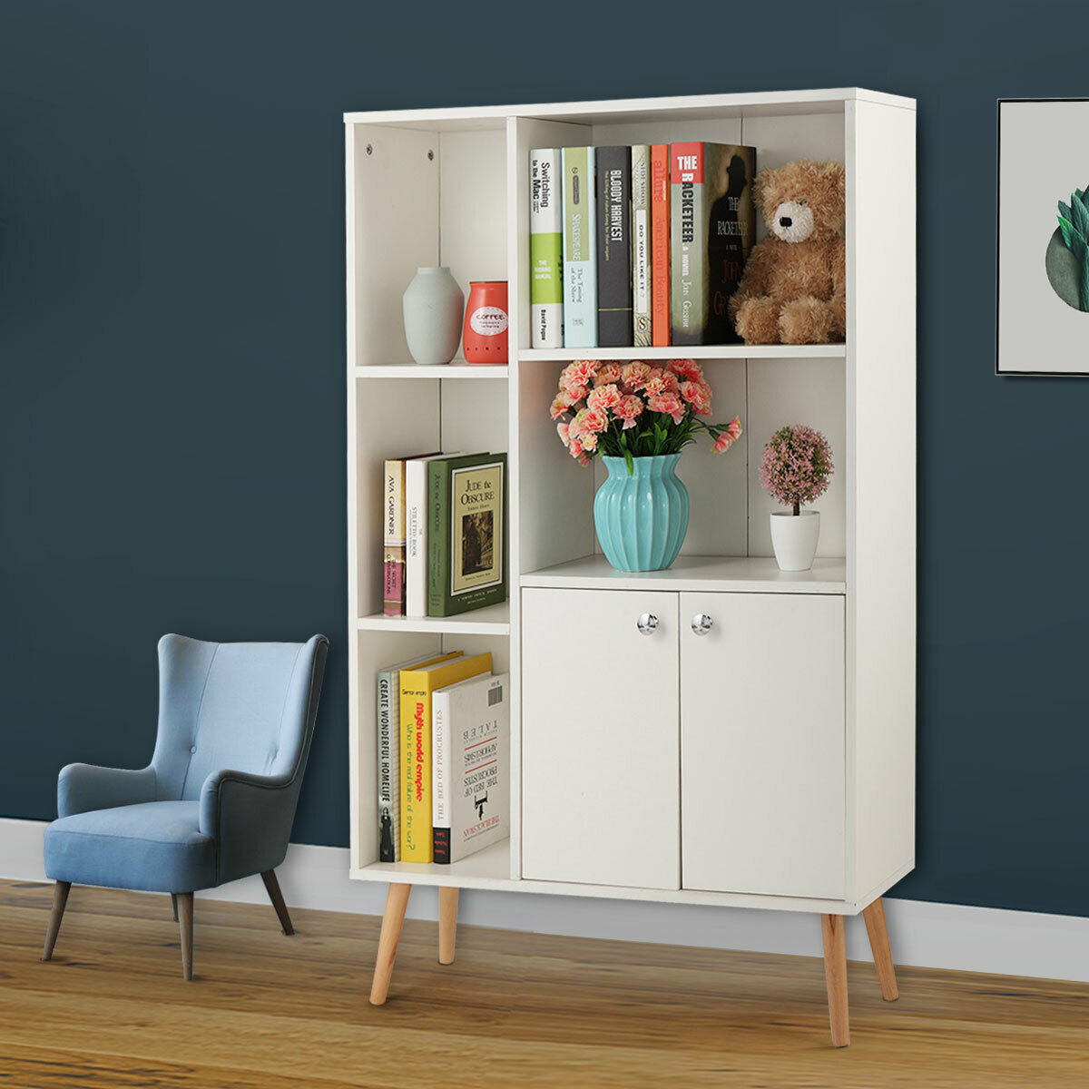 white wide storage book display bookshelf