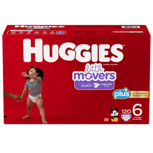 Huggies Little Movers  Baby Diapers, Size 6: 35lbs and up, 120ct