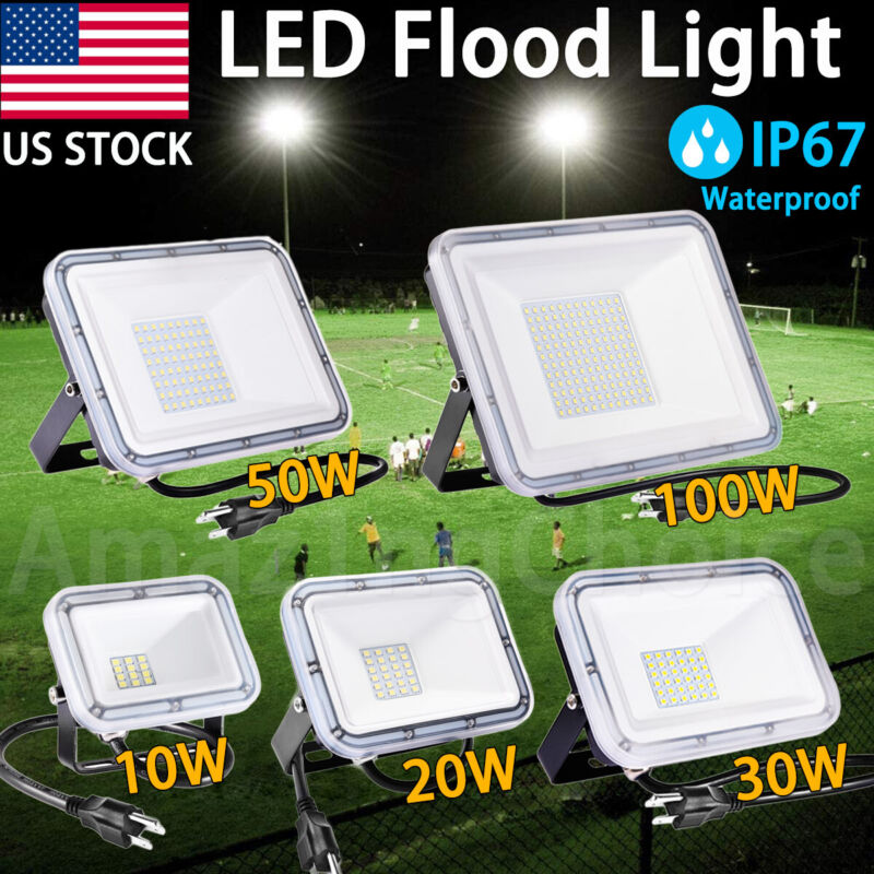 10W-100W LED Flood Light Outdoor Playground Stadium Yard Basketball Court Light
