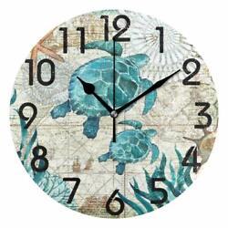 Wall Clock 14 World Map Travel Colorful Turtle Coastal Beach House Nautical