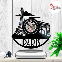 Dream Paris Eiffel Tower Theme Vinyl Record Wall Clock Bedroom France Decor Gift