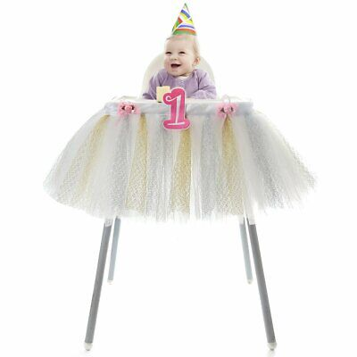 Baby First Birthday Decorations (HBB Magic Baby's First Birthday Highchair All White Tutu Skirt Party)