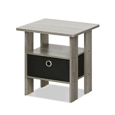 Furinno 11157GYW-BK End Table Bedroom Nightstand with Bin Drawer Gray & Black