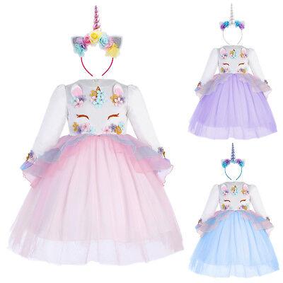 Kinder Einhorn Kostüm Langarm Kleid Blumenmädchen Tüll Partykleid mit Stirnband - Kinder Blumen Kostüm