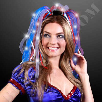 Light Up Red, White & Blue Hair Noodle Headbands Light Up 4th of July FUN!