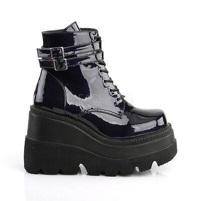 Wedge Platform Boots (Demonia Black Rainbow Hologram 4.5