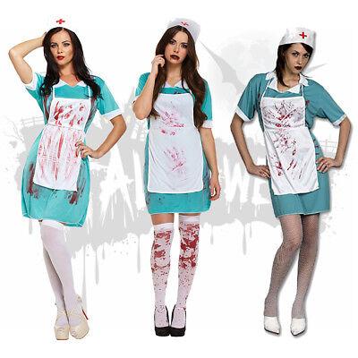 Ladies Halloween Bloody Nurse Uniform Fancy Dress Costume Outfit  Zombie Doctor