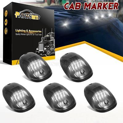 5pcs Top Roof Smoke Cab Marker 16 White LED Lights For 03-18 Dodge Ram 2500 3500