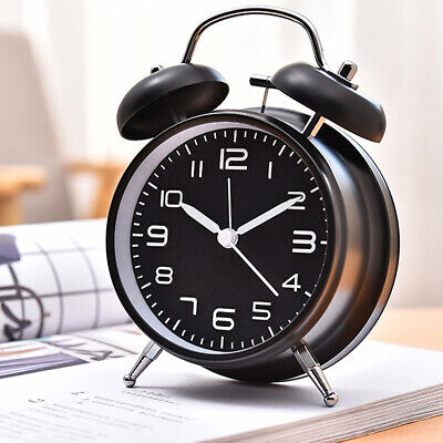 Silent Analog Alarm Clock Twin Bell Vintage Retro Classic Night Light Extra Loud Metal Alarm Clock Bells