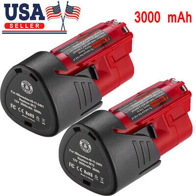 2X 3.0AH 12V Lithium-ion Battery For Milwaukee 48-11-2401 M12 Fuel Impact (Milwaukee Lithium Ion Drill)