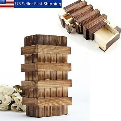 Chinese Vintage Classic Brain Magic Trick Wooden Puzzle Box Secret Drawer Gift ! ()