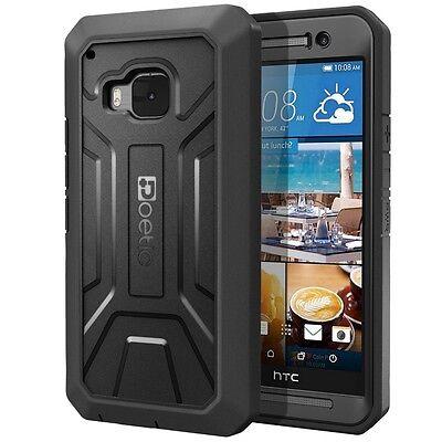 Poetic Revolution Armor Shockproof Hybrid Hard Case Cover For HTC One M9 Black