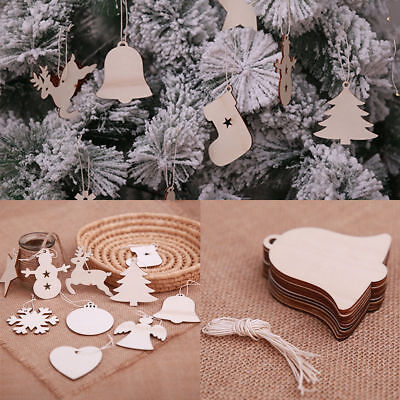 10X Blank Christmas Tree Decorations Wooden Shapes Ornaments Craft Xmas Gifts ()