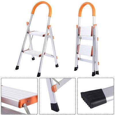 New Non-slip 2 Step Aluminum Ladder Folding Platform Stool 330 lbs Load Capacity