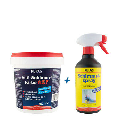 (13,60€/ L)Pufas Anti-Schimmel Farbe 0,75L weiss + Anti schimmel Spray 500ml Set
