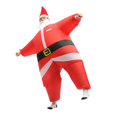 Santa Suit Inflatable Red Blow Up Full Body Fat Costume Jumpsuit Christmas Xmas