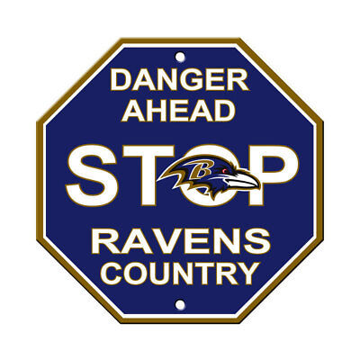 NFL Baltimore Ravens Stop Sign Danger Ahead Home Room Bar Decor 12