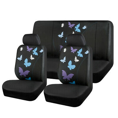 Car Seat Cover Blue Butterfly Universal Fabric fit for Holden Toyota Nissan Ford Blue Fabric Seat