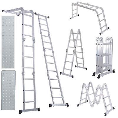 12.5ft Multi-purpose Folding Extendable Step Ladder Lightweight Scaffold Ladder