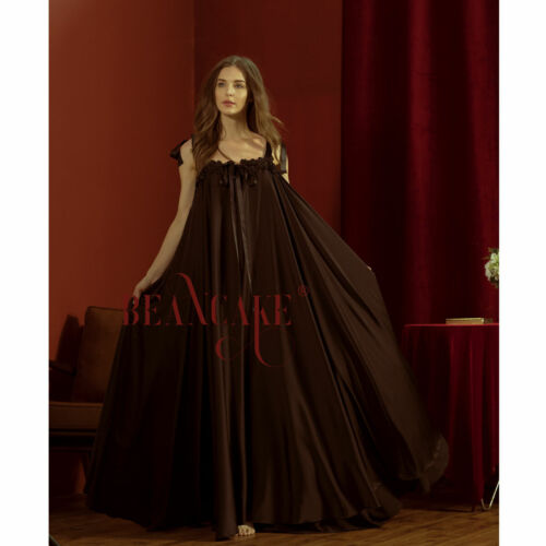 VTG Full Sweep Satin Slip Negligee Babydoll Nightgown Lingerie Black S-3XL